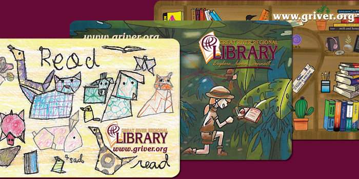 Three library card designs, first is origami animals, second is a jungle exploration, and third is a heart shaped book shelf
