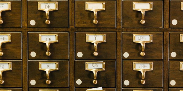 antique wood library card catalog